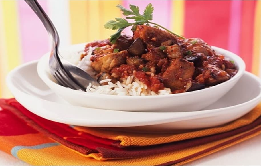 Eggplant with beef stew