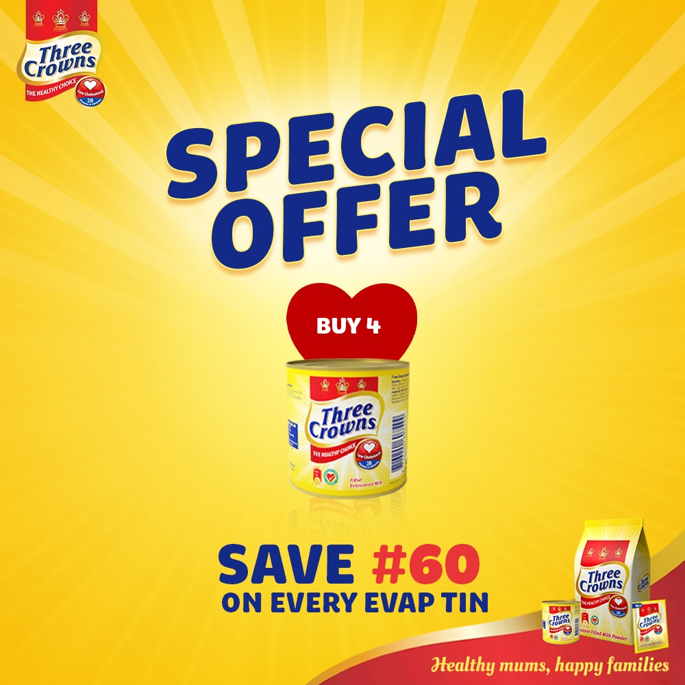 EVAP special offer - buy 4 Three Crowns Milk and save N60!
