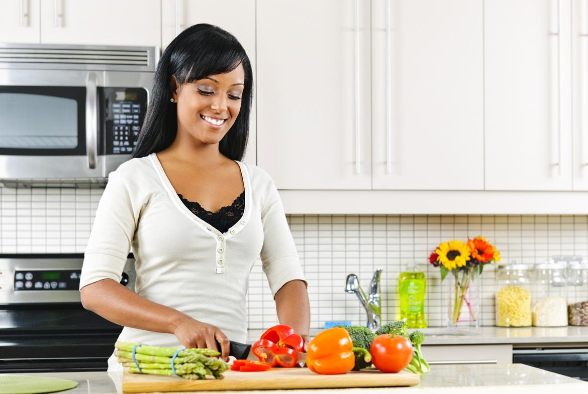 Afro american woman cooking